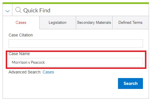 Guide on the Side: Finding Cases by Name or Citation - Lexis